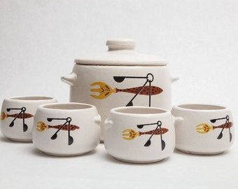 Mid-Century West Bend Ceramic Bean Crock Pot and Bowls