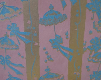 Vintage Gift Wrap 1950s Shower Theme HY-SIL Wrapping Paper-Blue Umbrelllas on Pink Wedding or Baby Shower Gift Wrap