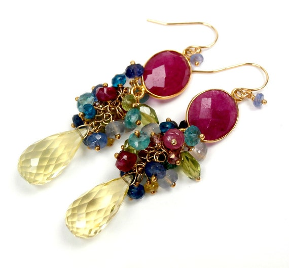 Gemstone Cluster Earring Lemon Quartz Ruby Connector Wire Wrap Multicolor