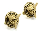 Sky Captain Cuff Links - Air Ship Pirate Geeky Steampunk Cufflinks with Spinning Propeller Blades in Antiqued Brass