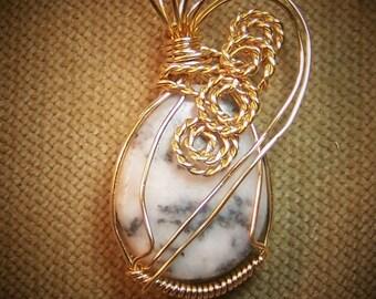 Natural Black and White ZEBRA JASPER Gemstone Gold Wire Wrap Necklace Pendant SALE