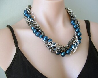 Multi Strand Chunky Chain and Large Pearl Statement Necklace in Navy Blue, Silver tone and Gunmetal. Wear layered or twisted.