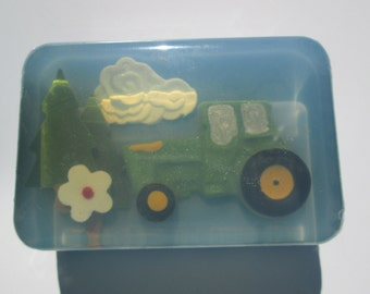 Childrens Soap - Farm Tractor in Natural colors and scents or Unscented soap