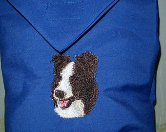 FREE US SHIPPING Border Collie Belt Bag, Bait Bag. (20007)  Comes in royal blue.