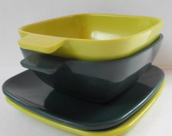 2 Snack Bowl Saucer Sets Arrowhead Lime Forest Green