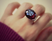 Cocktail Ring - To Order - Choose a Color, Crystal, Oval, Big Stone, Plum, Blue, Amber, Dark, Rustic, Purple, Wine, Grey, Jewelry Rings