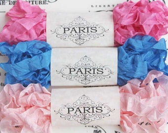 Shabby Crinkled Seam Binding Ribbon, Blue, Pink, Rayon Ribbon, Cottage Vintage,Scrapbooking, Doll Making, Crazy Quilting Saint-Tropez