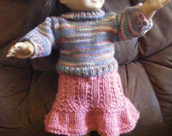 Knitted AG Doll Pullover Sweater with Draw-String Skirt