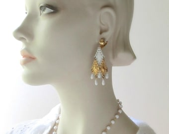 chandelier earrings and necklace set glass beads clip earrings 1960 boho geometric jewelry