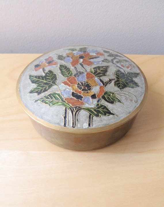 enamel on brass cloisonne bowl and lid