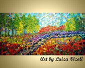 Large Painting Canvas Abstract Cityscape Old TUSCANY ROAD Summer FLOWERS by Luiza Vizoli Embellished Giclee