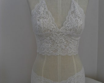 Bralette Fitted Cami in Ivory Stretch Lace with Matching Boy Short Style Panties