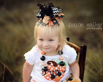 Halloween Black and Orange Chevron Pumpkin Over The Top Funky Bow with Ostrich Puff on headband Free Shipping On All Additional Items