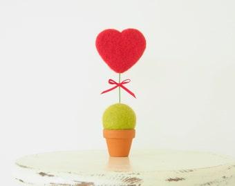 Valentine's Day Flower Pot, Red Heart Bloom for your Loved One. Needle Felted Heart Flower, Felt, Artificial Flower, Everlating, Gift, love