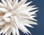 Polish Star Holiday Ornament, White Paper Urchin Decoration, Porcupine Ball, Elegant Winter Decor, Wedding Gift - Fine White, 4 inch
