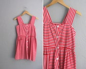 vintage red & white STRIPED button-front NAUTICAL SUMMER mini dress. size xs s.