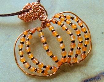 Pumpkin Pendant, Carnelian and Copper, Copper Wire Wrap Pendant, Fall Jewelry, Orange Pendant, Handcrafted Jewelry, Gemstone Jewelry