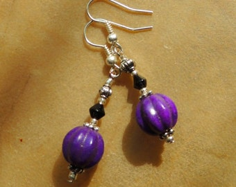 Purple Magnesite Earrings, Dangle Earrings, Purple and Black, Handcrafted Jewelry, Gemstone Jewelry, Boho Jewelry