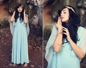 1970s Baby Blue Greek Goddess Dress