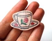 Wooden Tea Cup Brooch