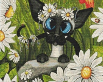 Cat Cross Stitch, Siamese Cat Cross Stitch, Cross Stitch Kit, Daises, Floral Stitch'Siamese Tulips and Daises', AmyLyn Bihrle, Siamese Cat,