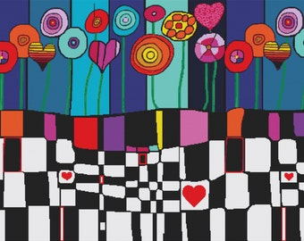 Extra large - Modern Cross stitch kit 'Happiness' By Dora Ficher
