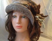 "Ladies wool felted headband "" Stunning Grey ""nunofelt gray olive blue brown  flower designer head band earwarmer"