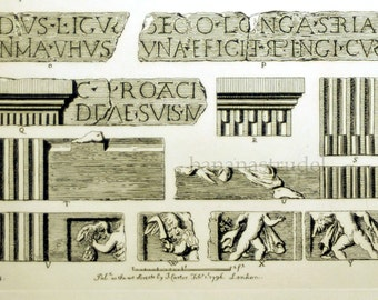 1845 Rare Large English Antique Engraving of British Architectural Gems. Relics of the Roman Era in Ancient Britain. Plate 7