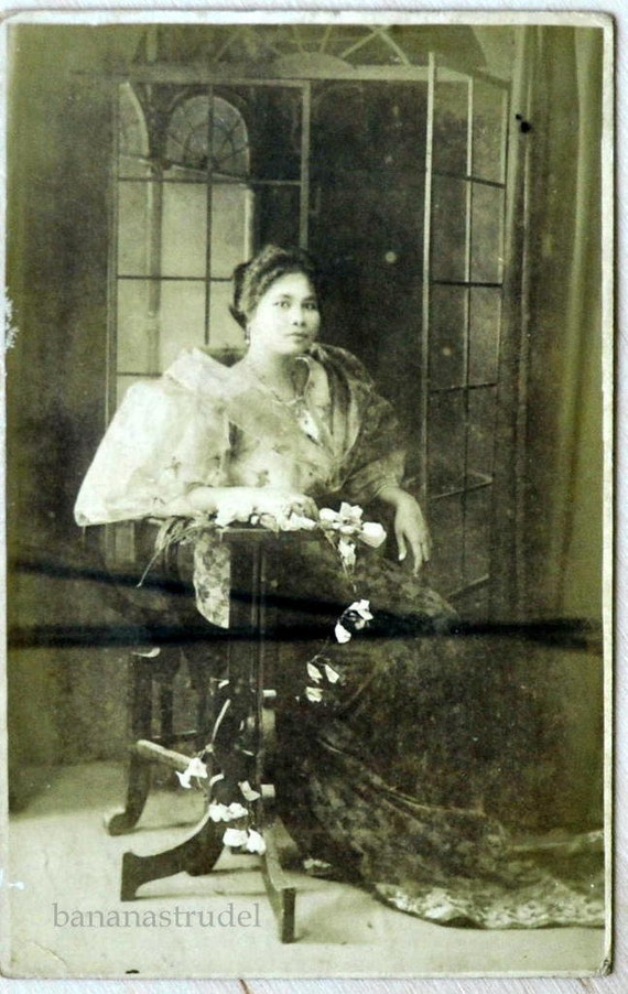 Early 1900s Philippine Photograph. Filipina in Traditional Philippine Garments