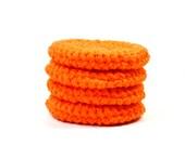 Cotton Face Scrubbies..Crochet Facial Pads..Reusable Makeup Removers..Orange