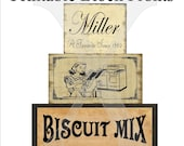 Vintage Printable Block Fronts Decoupage Sheet , Biscuit Mix Ad , SOOO..... EASY , ( anyone an make these )