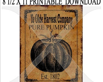 Instant Digital Download Primitive Grungy Pumpkin Ad