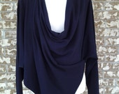 Woman clothing, travel fashion, multi way bolero shrug, drape cardigan, 7 in 1, long sleeves, jersey, dark nayvy, one size