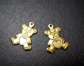 High Quality Solid Raw Brass Cute Little Teddy Bear Charm Pendants or Name Tags - 30 pcs