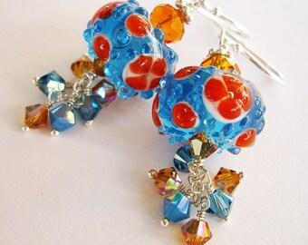 Citrus Sky Earrings - Sterling Silver, Lampwork Glass, Swarovski Crystal