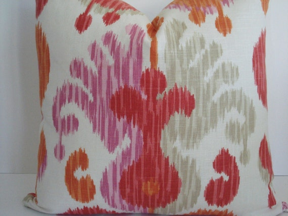 Both Sides-LINEN-Ikat -Braemore Journey Fruity-Decorative Designer Pillow Cover-Soft  Orange-Coral -Pink-Sand and IvoryThrow/Lumbar Pillow