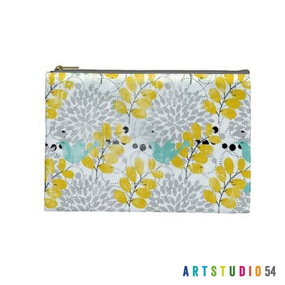 "Yellow and Blue Birds Leaves on a Pouch, Make Up, Cosmetic Case Travel Bag - 9"" X 6"" -  Large -  Made by artstudio54"