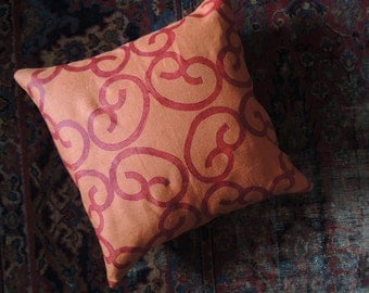 Barcelona hand printed orchid on burnt orange linen pillow cover colorful decorative home decor
