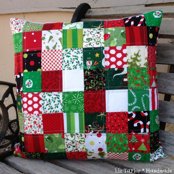 Items similar to handmade christmas quilted pillow cover