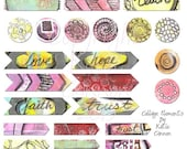 Printable sheet of 24 Digital Tapes and 8 flair for Digital Scapbooking, Art Journaling , Collage, Project Life, Project 365, and Snap Life