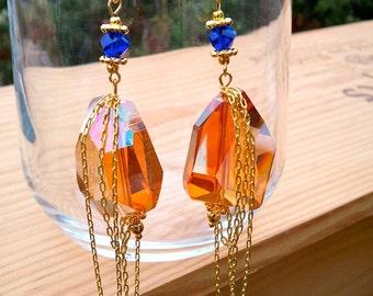 Orange & Cobalt Crystal Chunk Earrings