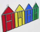 Beach Huts Stained Glass Suncatcher Home Decor