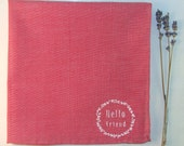 Hello Friend Classic Chambray Red Pocket Square