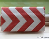 Cloth Checkbook Cover - Coral Chevron ****** Without Blue Elastic******