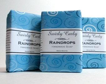 Raindrops Glycerin soap, Handmade, blue, swirly, fresh scent, top seller, decorative soap