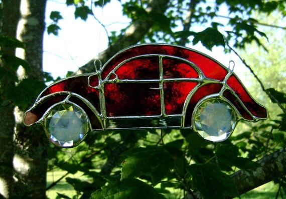 Volkswagen Beetle VW Bug Red Stained Glass Suncatcher Hippie Classic Cars Vintage Retro 60s Birthday Christmas Gift Original Design