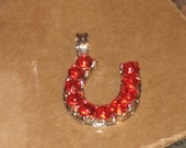 1/2 OFF SALE Horseshoe Pendant with Gorgeous Red Crystals