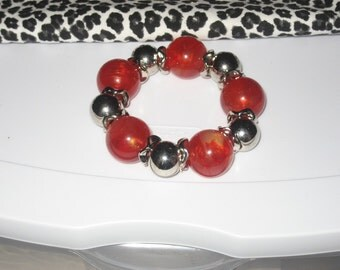 Chunky Red Marbleized Beads with Silver Beads & Silver Spacers Stretch Bracelet