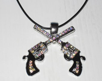 Pistols Removable Pendant with Iridescent Crystal Rhinestones