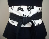 SALE ~ Obi Belt ~ Sash ~ Black Floral Obi Sash Belt ~ Corset Belt